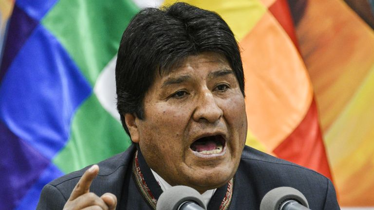 Bolivia's President and presidential candidate Evo Morales speaks during a press conference at the Casa Grande del Pueblo (Great House of the People) in La Paz, on October 24, 2019