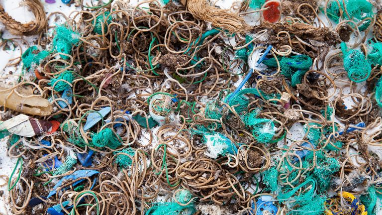 Undated handout photo issued by the National Trust of Elastic bands and fishing waste collected from Mullion Island in September 2019. The uninhabited island, which is off the Cornish coast, that is so remote a permit is required to visit has been littered with thousands of elastic bands ??? by seabirds mistakenly thinking they are worms. PA Photo. Issue date: Wednesday October 23, 2019. Mullion Island is a small, rocky outpost off the Lizard Peninsula, cared for by the National Trust, that prov