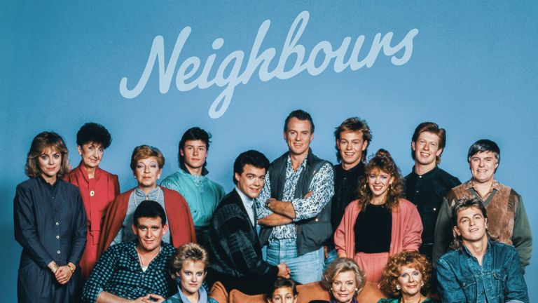 Neighbours posted this image of the original cast in tribute. Pic: @neighbours