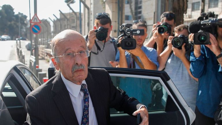 Ram Caspi, a lawyer for the prime minister, arrives at the ministry of justice in Jerusalem