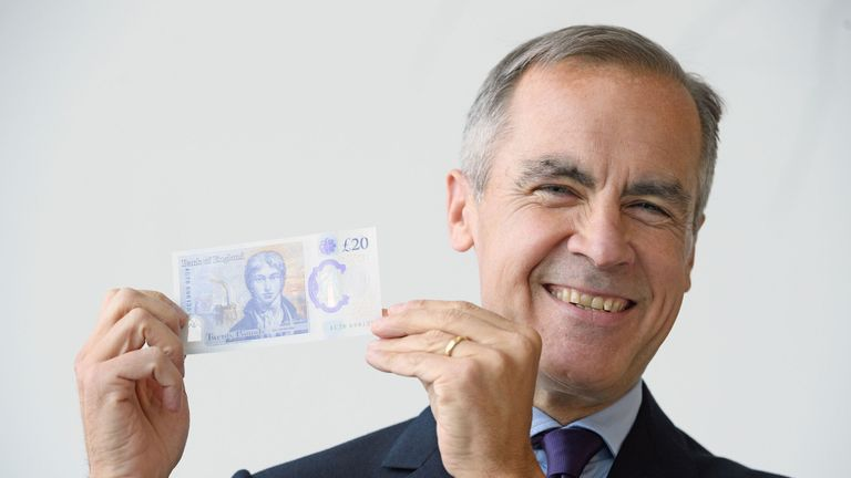Governor of the Bank of England, Mark Carney,  unveils the full design of the new £20 note featuring JMW Turner