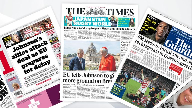 Monday's newspaper front pages