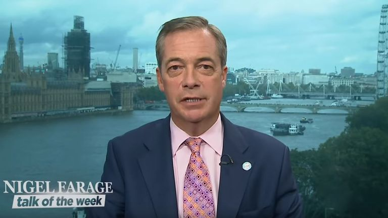 The Brexit Party leader hosts a show on YouTube called 'Nigel Farage Talk Of The Week'. Pic: YouTube/Nigel Farage