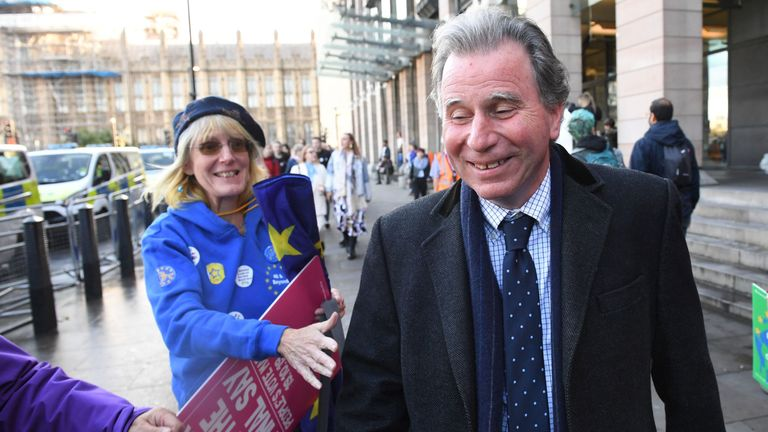 Sir Oliver Letwin MP in Parliament Square, London