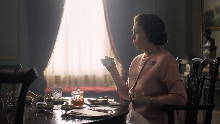 Olivia Colman as the Queen in The Crown. Pic: Netflix