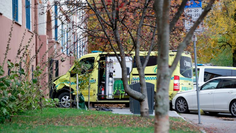 A stolen ambulance car that crashed into a house is pictured in Oslo
