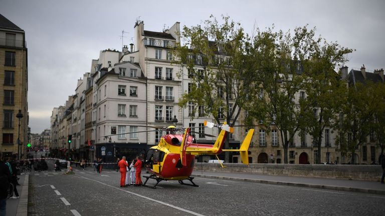 An air ambulance landed on the nearby on the Pont Marie