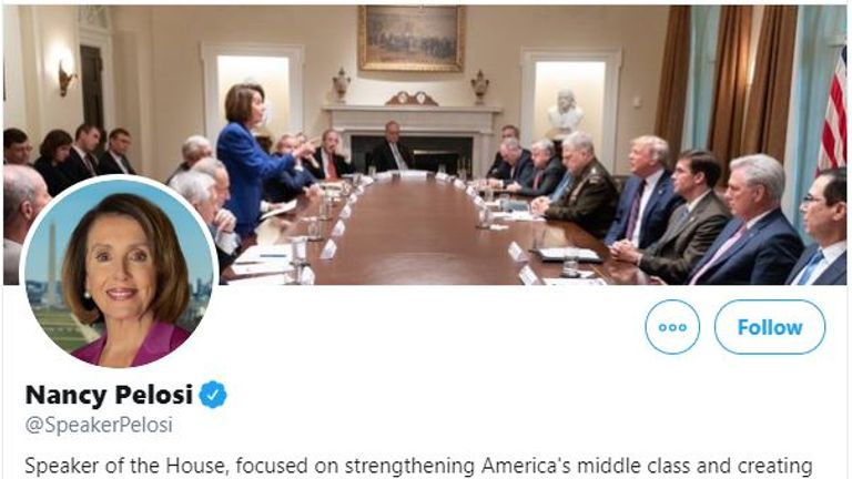 Nancy Pelosi then used the picture as her banner