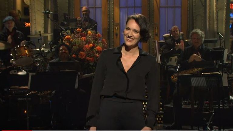 Phoebe Waller-Bridge's monologue was met with raucous laughter from the audience. Pic: Saturday Night Live