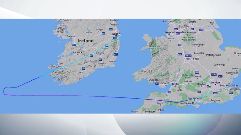 The route the plane took. Pic: Flightradar24