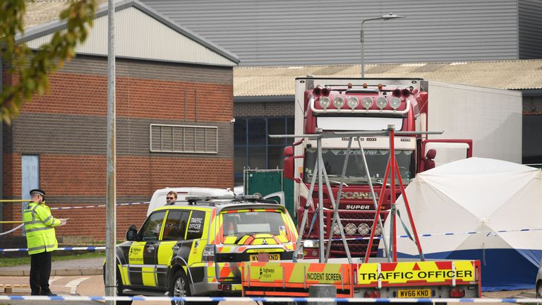 Police activity at Waterglade Industrial Park in Grays, Essex after 39 bodies were found in a truck on the industrial estate. PA photo. Photo Date: Wednesday, October 23, 2019. Early indications suggest that 38 are adults and a teenager, police said. The truck is from Bulgaria and entered the country at Holyhead, in North Wales, one of Ireland's main ferry ports. See the history of AP POLICE Container. Photo credit should be: Stefan Rousseau / PA Wire