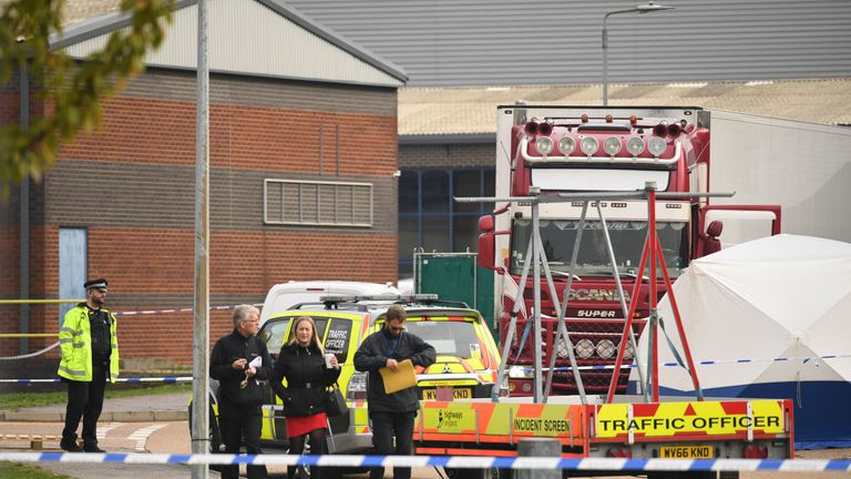 Police activity at the Waterglade Industrial Park in Grays, Essex, after 39 bodies were found inside a lorry container on the industrial estate. PA Photo. Picture date: Wednesday October 23, 2019. Early indications suggest there 38 are adults and one teenager, police said. The lorry is from Bulgaria and entered the country at Holyhead, North Wales, one of the main port for ferries from Ireland. See PA story POLICE Container. Photo credit should read: Stefan Rousseau/PA Wire