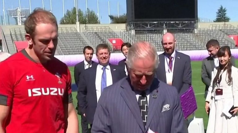 Prince Charles receives Wales rugby shirt in Tokyo