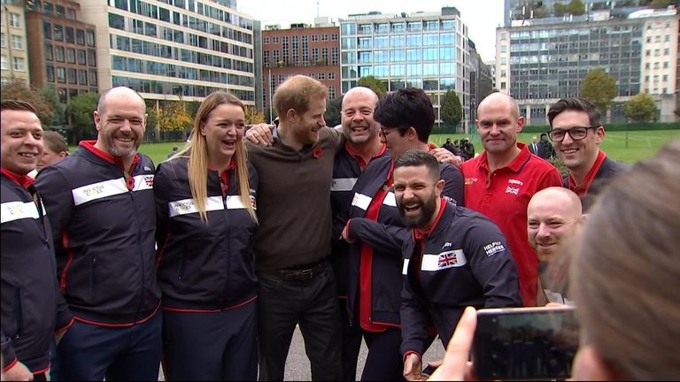 Athlete Lynsey Kelly found her hand very much planted on the Duke of Sussex's derriere during the Invictus Games launch