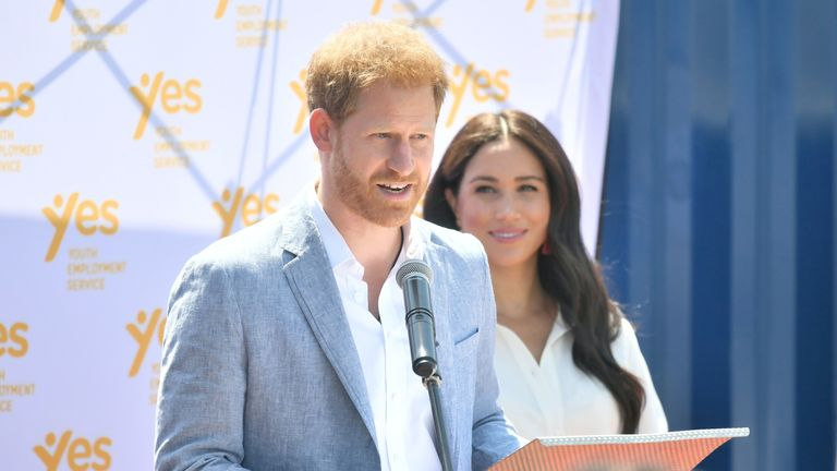 Prince Harry, Duke of Sussex and Meghan, Duchess of Sussex visit the township of Tembisa during their royal tour of South Africa