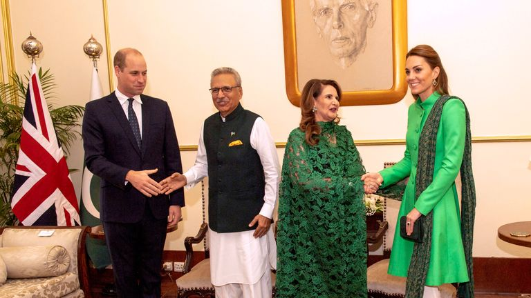 The Duke and Duchess of Cambridge  called on The President of Pakistan  Dr. Arif Alvi  at the Presidential Palace, .Picture: Arthur Edwards