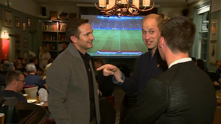 Prince William shared a beer with Chelsea manager Frank Lampard at a London pub as the pair cheered on the England team during their match against the Czech Republic.