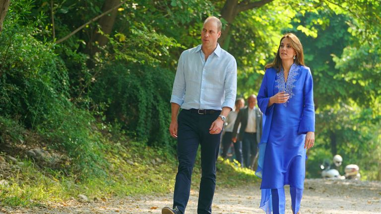 The Duke and Duchess of Cambridge arrive for a visit to the Margalla Hills on the second day of the royal visit to Pakistan. PA Photo. Picture date: Tuesday October 15, 2019. See PA story ROYAL Cambridge. Photo credit should read: Owen Humphreys/PA Wire