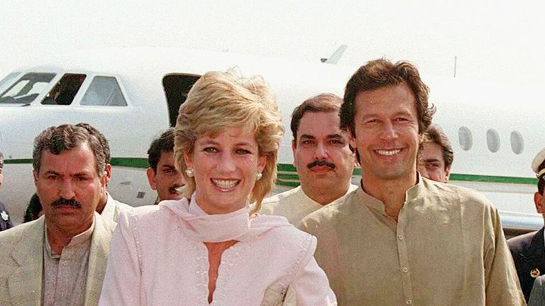 The Princess of Wales at Lahore airport with former cricket star Imran Khan in 1996