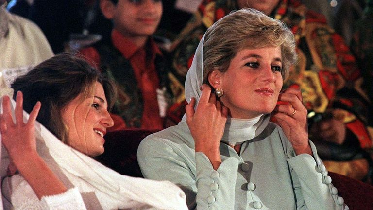 Princess Diana with Jemima Khan in Pakistan