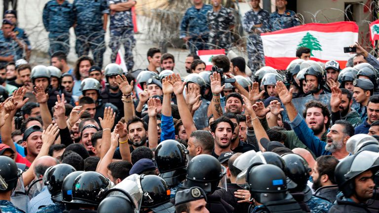 Supporters of Lebanon's Shia Hezbollah movement protest in Beirut