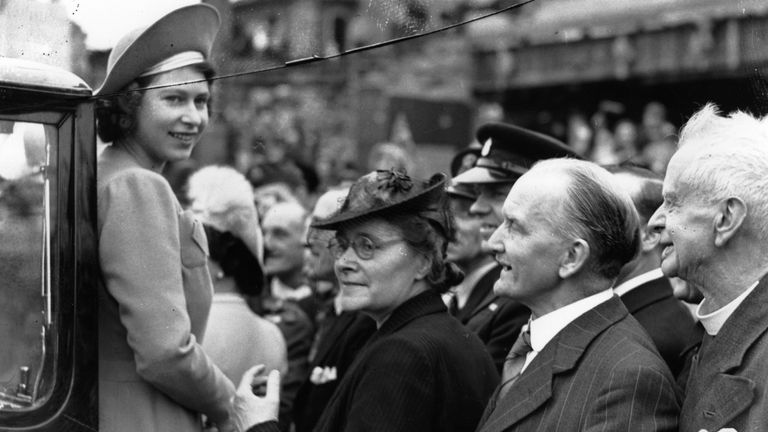 The Queen - or Princess Elizabeth as she was then - in east London after the end of WWII in May 1945