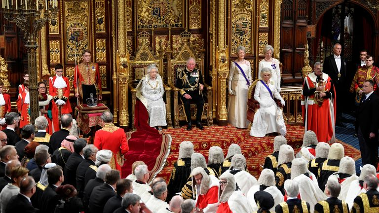 Queen Elizabeth delivering the Queen's Speech