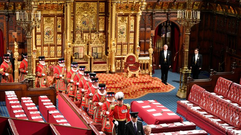 Members of the Yeoman Guard in the Chamber East Gallery ahead of the Queen's Speech at the State Opening of Parliament in the House of Lords at the Palace of Westminster in London.