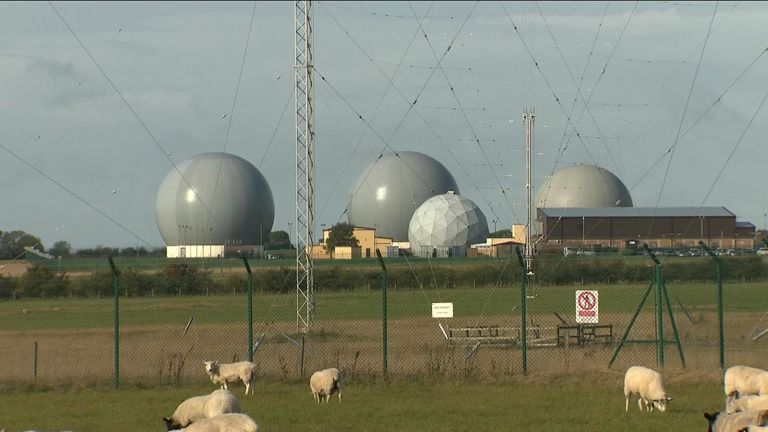 RAF Croughton, a US communication base in Northamptonshire.