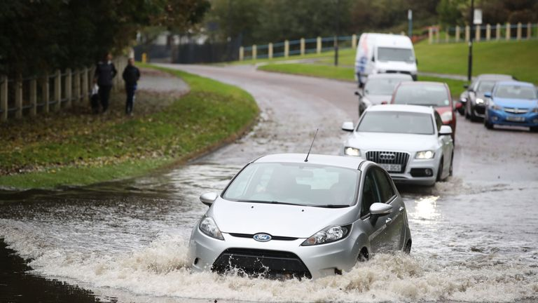 A slow-moving band of heavy rain set to drench parts of the UK has triggered weather warnings and flood alerts