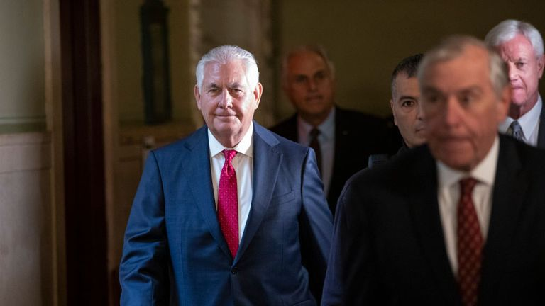 Rex Tillerson at the court hearing in New York