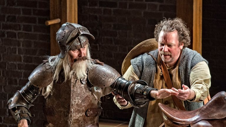 David Threlfall, as Don Quixote and Rufus Hound as Sancho Panza perform on stage during a dress rehearsal of Don Quixote at the Garrick Theatre, produced by the Royal Shakespeare Company, on November 2, 2018