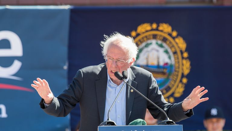 Bernie Sanders appeared at a rally on Sunday
