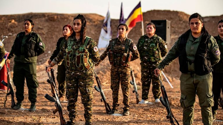 Members of the Bethnahrin Women Protection Forces, an SDF  paramilitary group in the northwestern Syrian province of Hasakah
