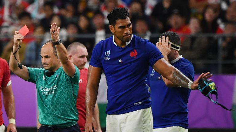 France's lock Sebastien Vahaamahina receives a red card