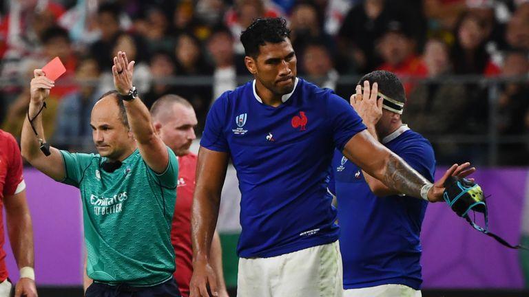 France's lock Sebastien Vahaamahina receives a red card