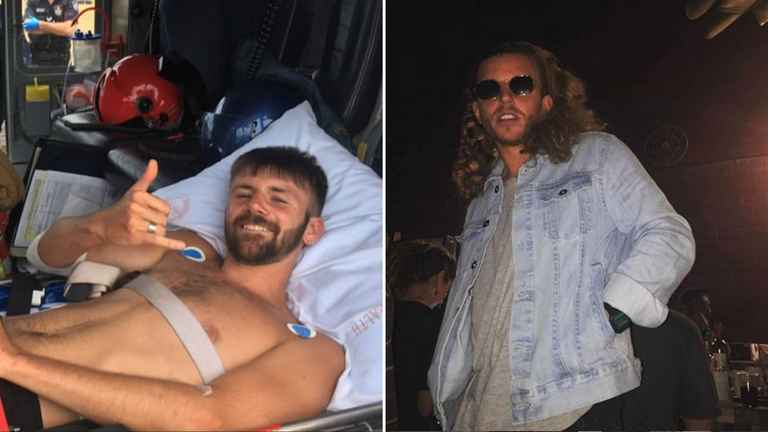Danny Maggs and Alistair Raddon were attacked whilst out swimming in Australia