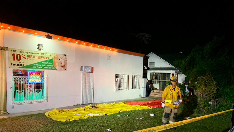 Firefighters at scene of shooting in Long Beach, California. Pic: Long Beach fire department