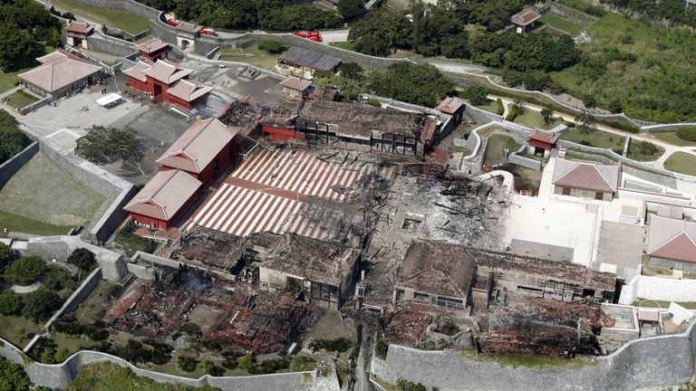 An aerial footage shows the burned-out remains of the castle. Pic: Kyodo/Reuters