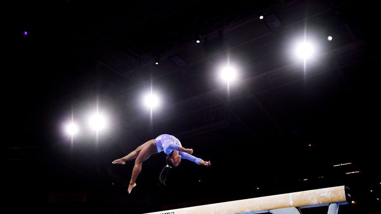 Simone Biles won the balance beam final to clinch her 24th medal in the competition