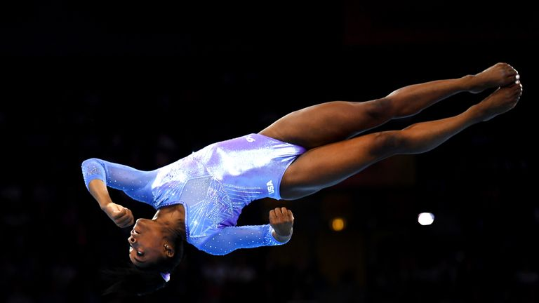 Simone Biles competes in the floor final in Stuttgart on Sunday
