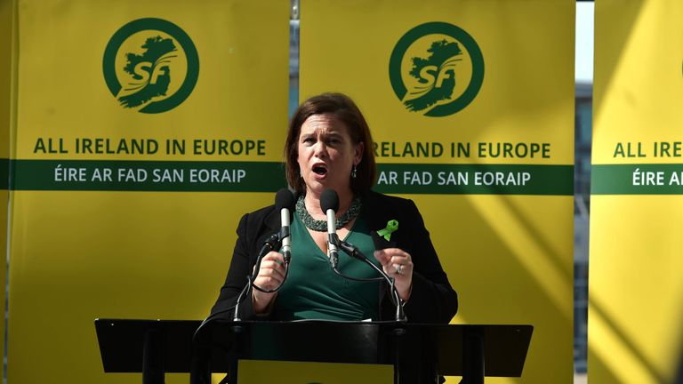 BELFAST, NORTHERN IRELAND - MAY 13: Sinn Fein President Mary Lou McDonald addresses party members and the gathered media as she attends the launch of the party's European Parliament election manifesto at the Waterfront Hall on May 13, 2019 in Belfast, Northern Ireland. The European elections will take place next week following the Brexit delay agreement between the European Union and the UK government. (Photo by Charles McQuillan/Getty Images)