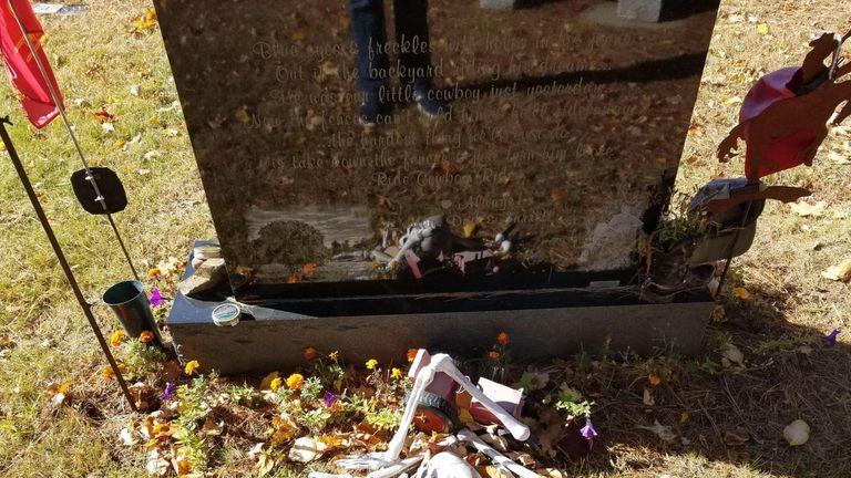 Mum's skeleton tribute at son's grave removed