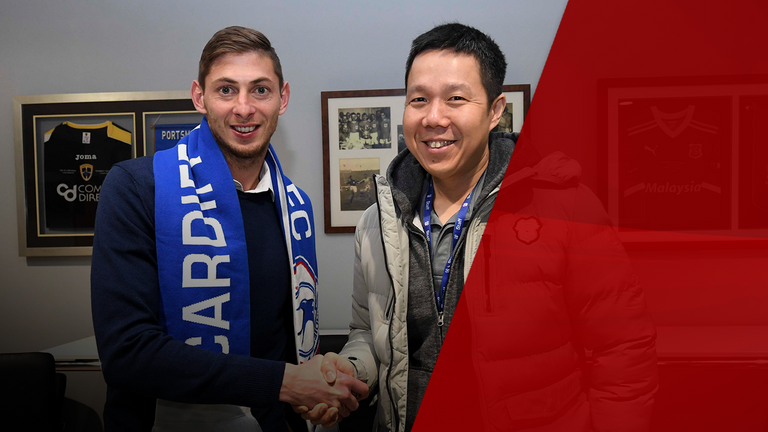 Sala and Cardiff owner Ken Choo as the Argentinian signed for the club