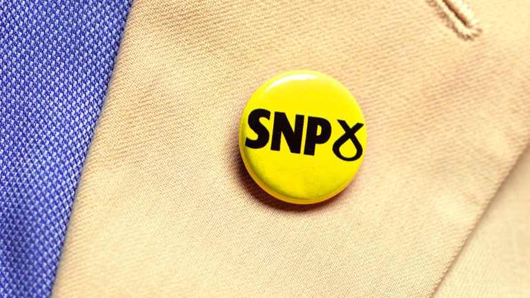 LONDON,JULY 18:  In this photo illustration, a person wears a SNP Party badge photographed July 18, 2019 in London. (Photo by Peter Dazeley/Getty Images)
