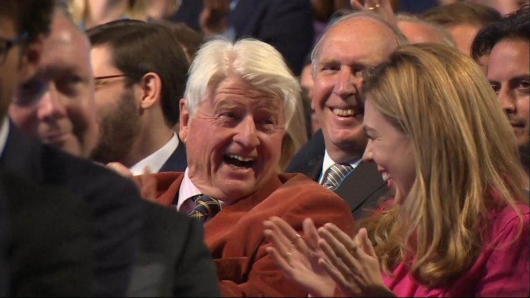 Stanley Johnson, father of the Boris, mouthed 'I didn't know that' when the pm said that his mother had voted leave.