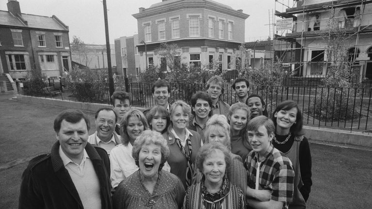 Sandy Ratcliff was one of the original cast members of Eastenders (third row, far right)