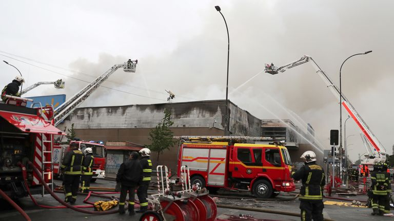 Supermarket fire in Santiago, Chile