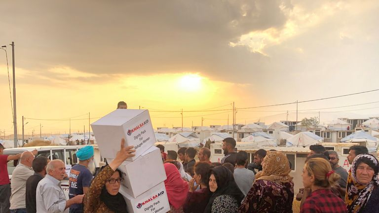 More than 7,000 Kurds have arrived at the Bardarash refugee camp in Iraq in a week. Pic: Helan Fahmi, Khalsa Aid International