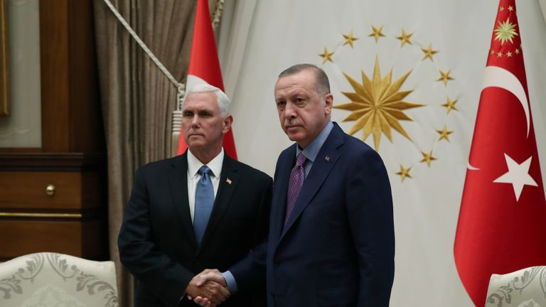 Turkish President Tayyip Erdogan meets with U.S. Vice President Mike Pence at the Presidential Palace in Ankara, Turkey